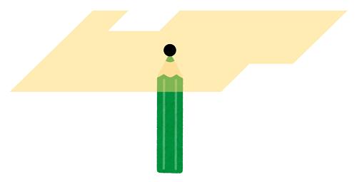 複雑な形の図面をえんぴつの先でバランスを取る図