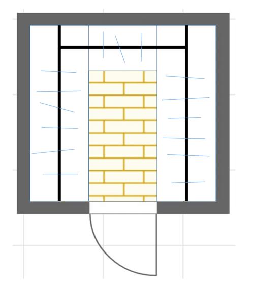 コの字型ウォークインクローゼットの間取り図