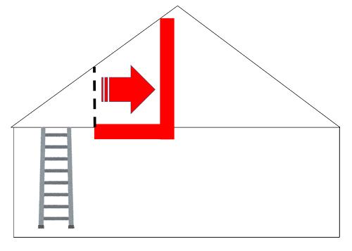 屋根裏部屋の増し床工事のイメージ