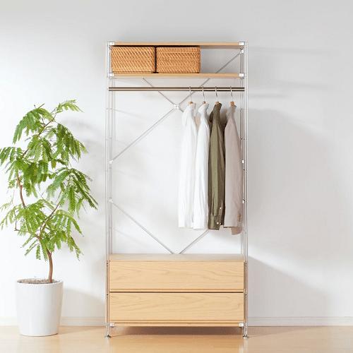 ハンガーラックと棚付きのユニット家具(無印良品)