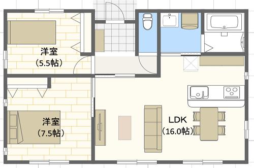 20坪/I字型/北玄関位置 2LDKの間取り図