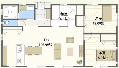 30坪/I字型/北玄関位置 3LDKの間取り図