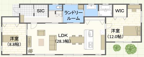 35坪/L字型/西玄関位置 2LDKの間取り図
