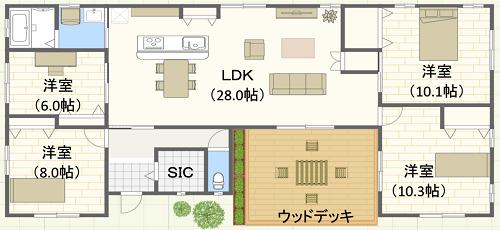 40坪/コの字型/南玄関位置 4LDKの間取り図
