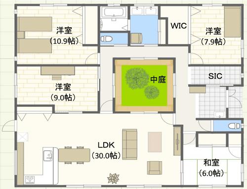 50坪/ロの字型/東玄関位置 4LDKの間取り図