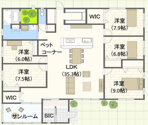 50坪/ L字型/東玄関位置 5LDKの間取り図