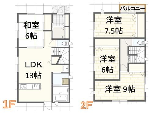 35坪二階建ての間取り建築実例