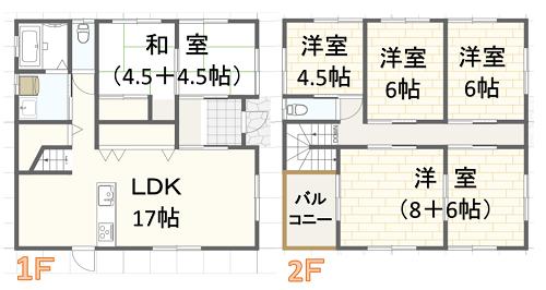 40坪二階建ての間取り建築実例